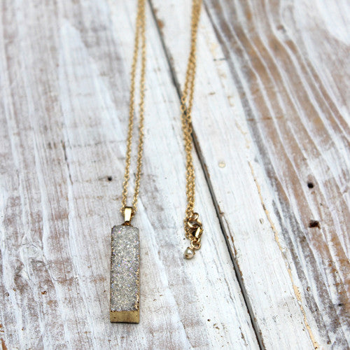 Long AB Druzy Necklace - Margie Edwards Jewelry Designs