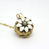 White Pansy Vintage Locket