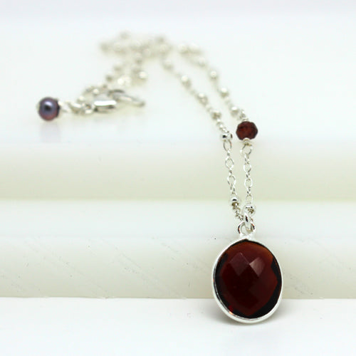 Silver Garnet Necklace - Margie Edwards Jewelry Designs