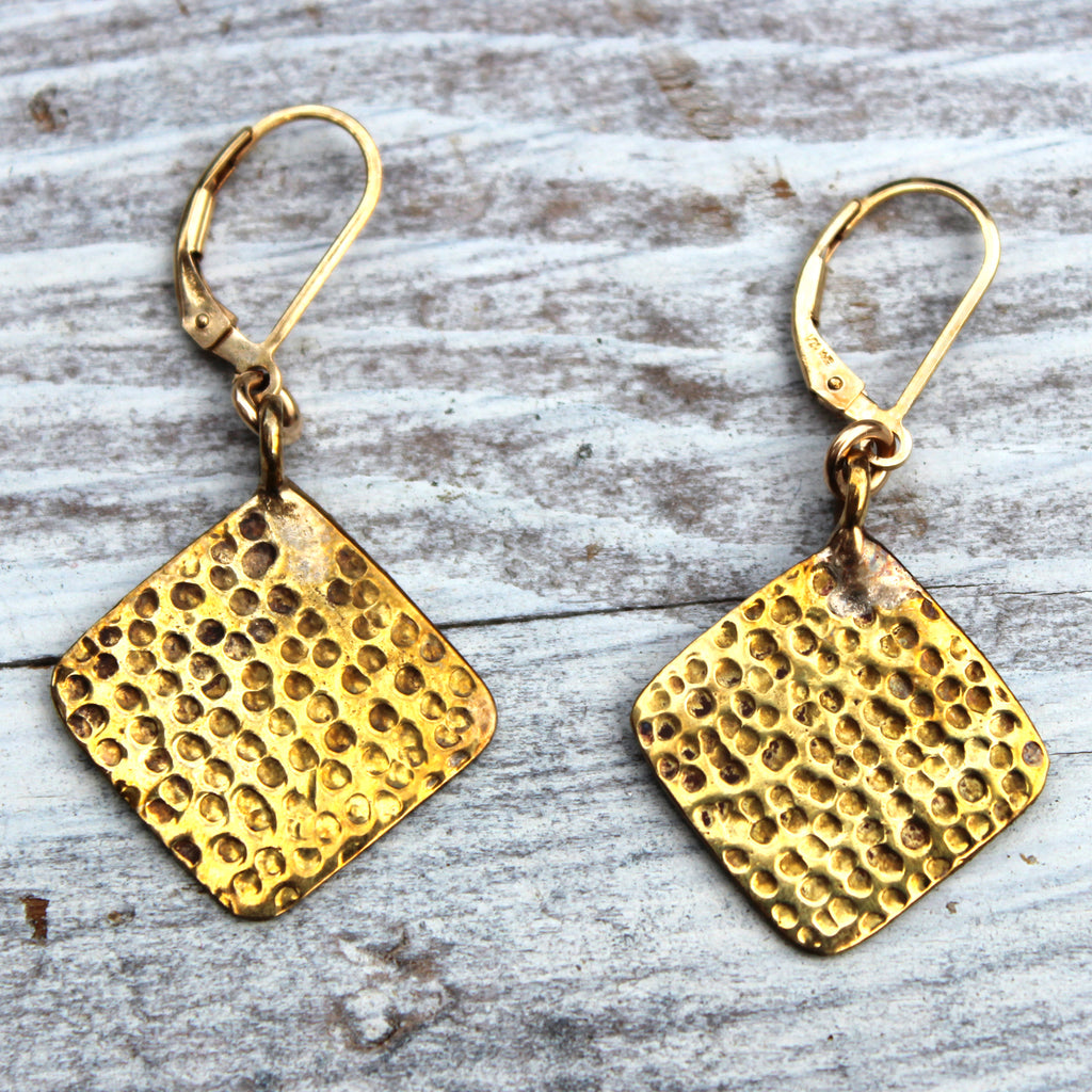 Hammered Square Earrings - Margie Edwards Jewelry Designs