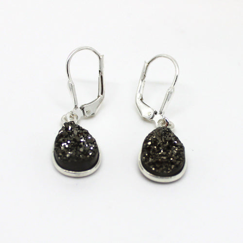 Platinum Druzy Earrings - Margie Edwards Jewelry Designs