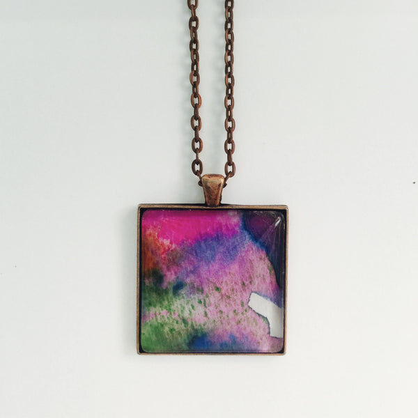 Original Watercolor Extra Large Pendant Necklace