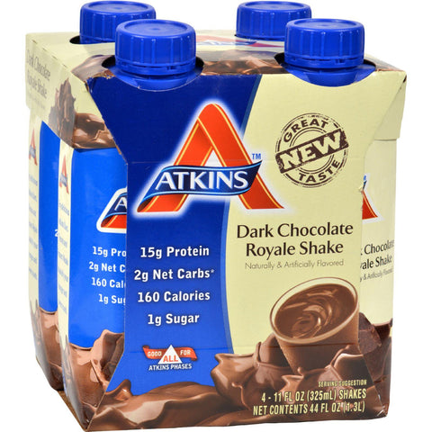 Atkins Advantage Rtd Shake Dark Chocolate Royale - 11 Fl Oz Each - Pack Of 4