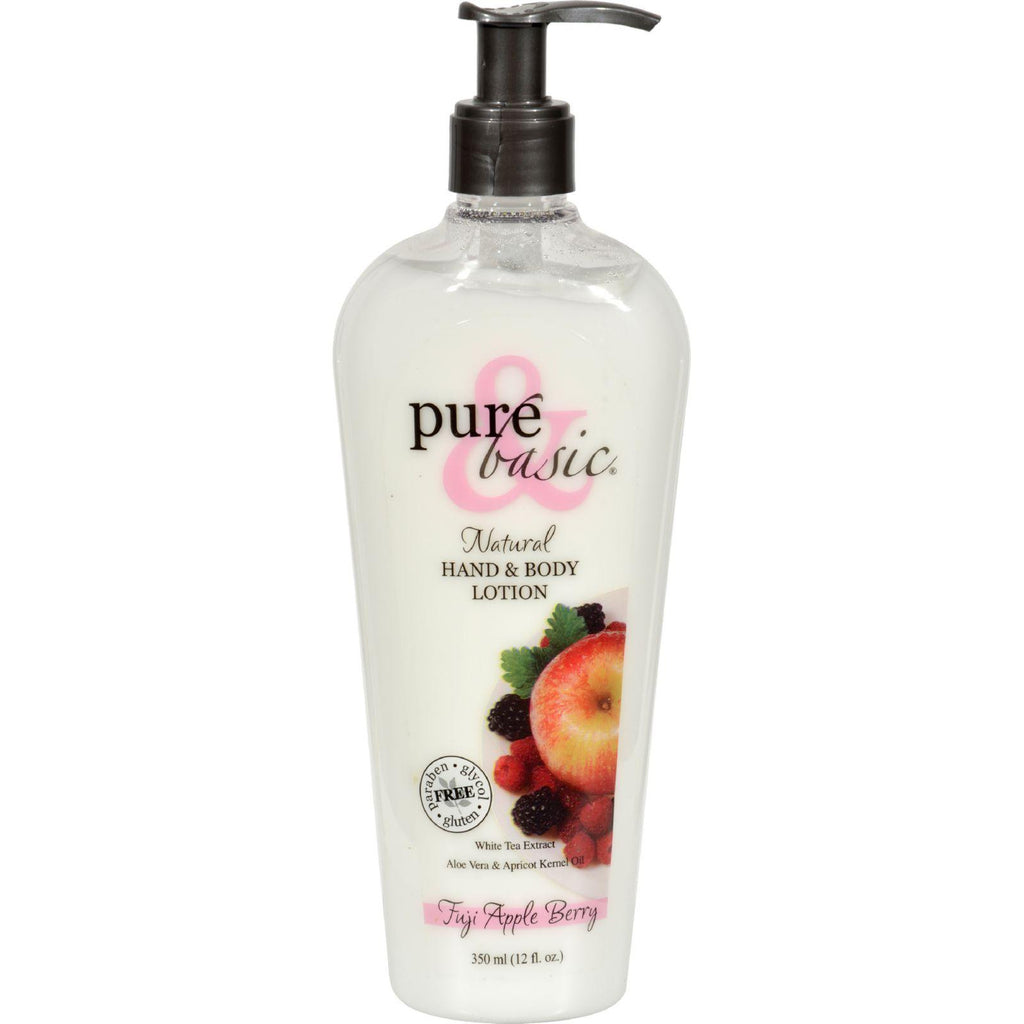 Pure And Basic Natural Bath And Body Lotion Fuji Apple Berry - 12 Fl Oz
