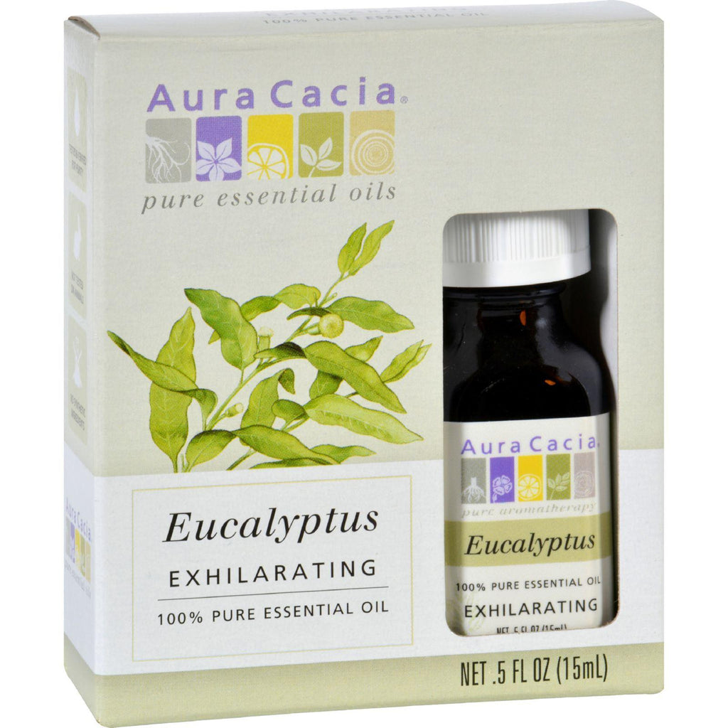Aura Cacia Pure Essential Oil Eucalyptus Globulus - 0.5 Fl Oz - Case Of 3