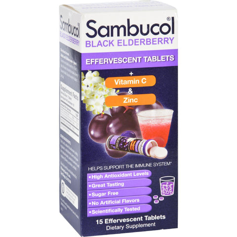Sambucol Original - Plus Vitamin C And Zinc - Effervescent Tabs - 15 Count