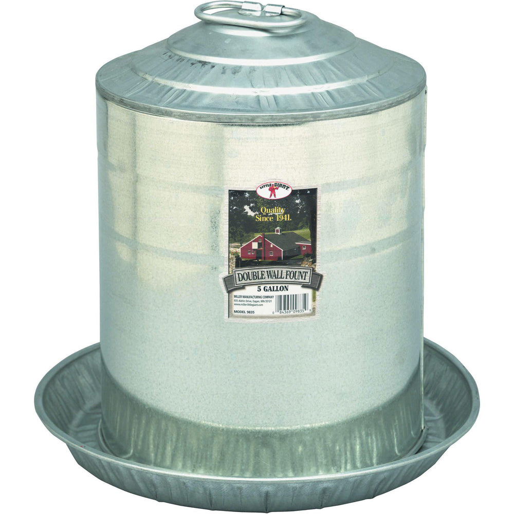 Little Giant® 5 Gallon Double Wall Metal Poultry Fount - Critter Country Supply Ltd.