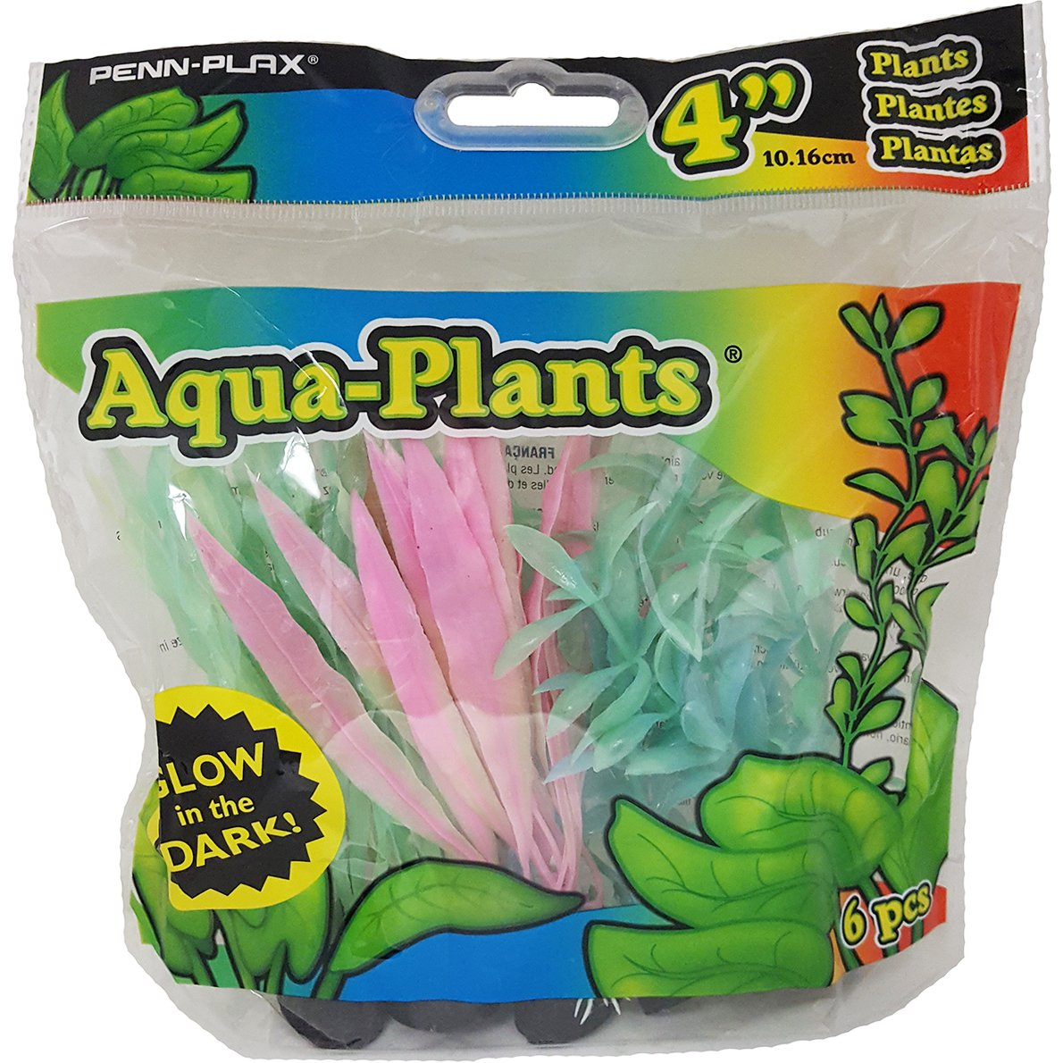 "Penn-Plax® 4"" Glow-in-the-Dark Aqua-Plants® 6PK - Critter Country Supply Ltd."