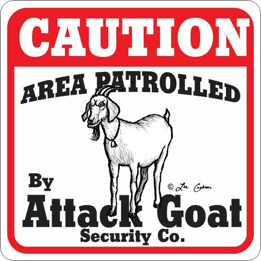 Caution Attack Goat Sign