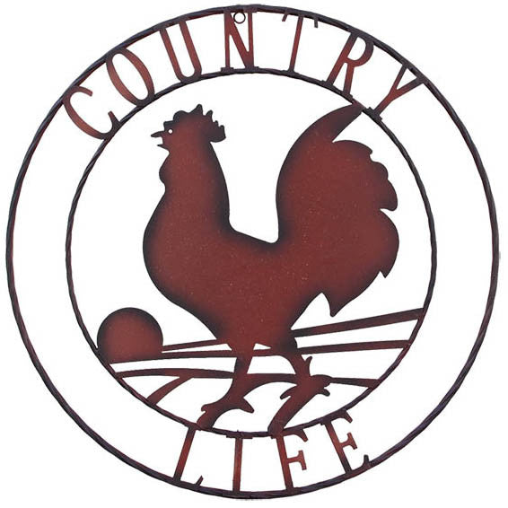 "Metal Rooster ""COUNTRY LIFE"" Sign"