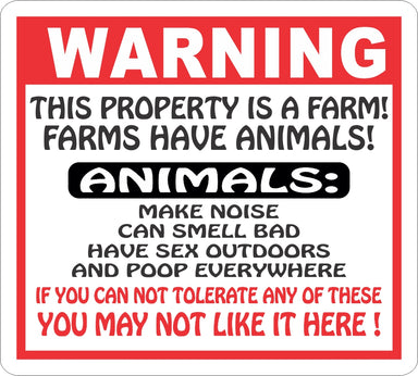 Warning Farm Animals Sign - Critter Country Supply Ltd.