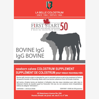 F1RST START 50 Bovine IgG Dry Colostrum - 1 Dose 350g Package - Critter Country Supply Ltd.