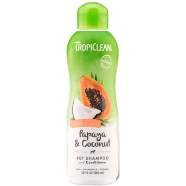 TropiClean® Papaya & Coconut (Luxury 2-in-1) Dog & Cat Shampoo and Conditioner 592ml - Critter Country Supply Ltd.