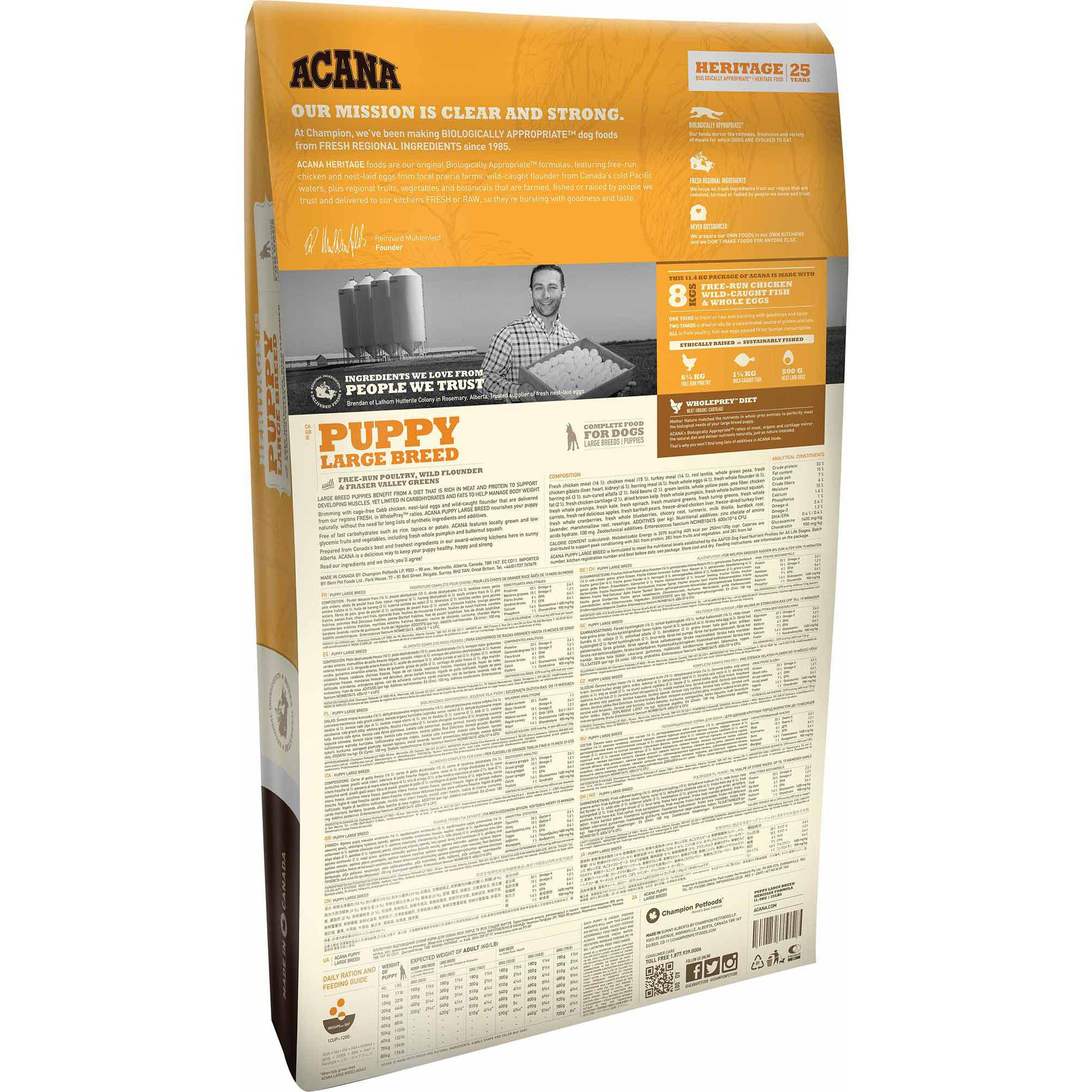 ACANA® HERITAGE Puppy Large Breed 11.4KG - Critter Country Supply Ltd.