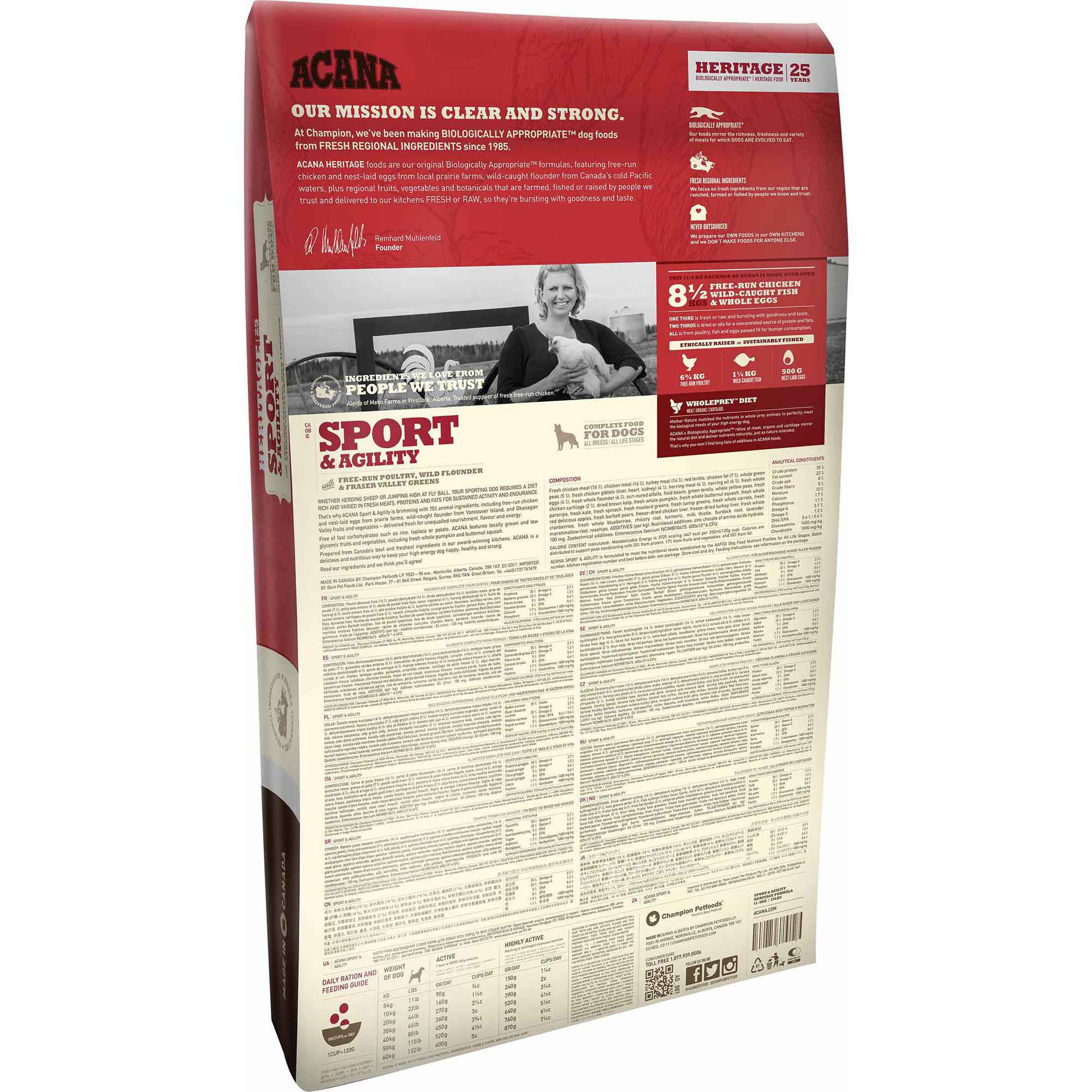 ACANA® HERITAGE Sport & Agility 11.4KG - Critter Country Supply Ltd.