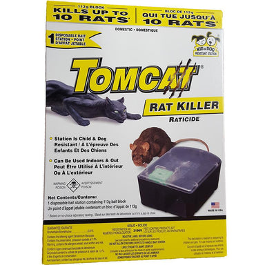 TomCat® Rat Killer, 1 Pre-Loaded Disposable Bait Station - Critter Country Supply Ltd.