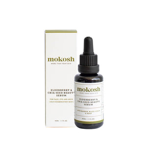 Mokosh Skincare Elderberry & Chia Seed Beauty Serum with box
