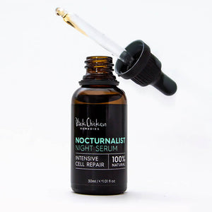 Black Chicken Remedies Nocturanalist Night Repair Serum open bottle