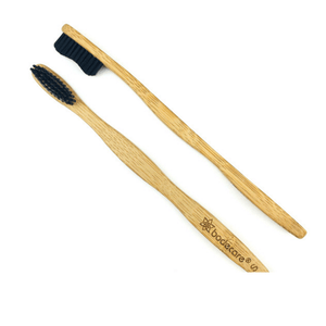 Bodecare bamboo toothbrush top and side view