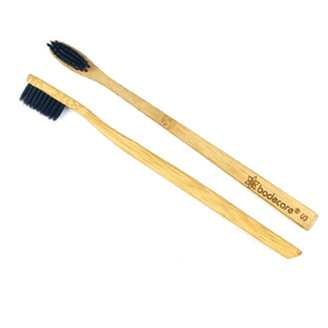 Bodecare Slim Bamboo Toothbrush top and side view