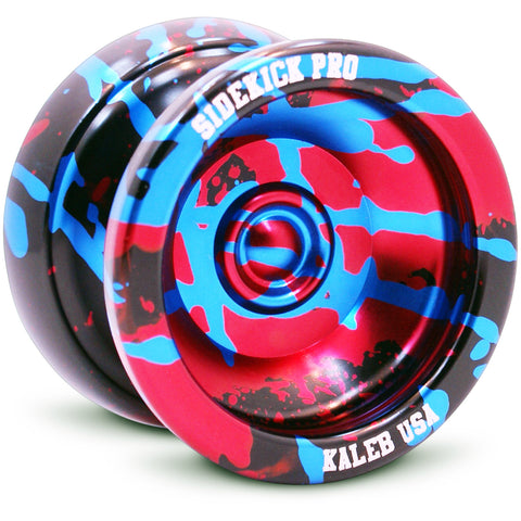 Black Red Blue Splashes Aluminum Sidekick PRO YoYo - UNresponsive