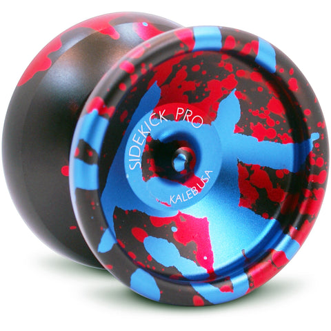 Black Red Blue Splashes Aluminum Sidekick PRO 7S YoYo - UNresponsive - SK-Pro-Blk-Red-Blu-7S