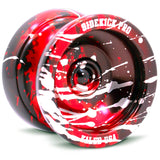 Black Red Silver Splashes Aluminum Sidekick PRO YoYo - UNresponsive