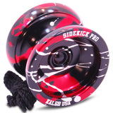 Black Red Silver Splashes Aluminum Sidekick Pro Unresponsive YoYo