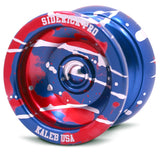 Blue Red Silver Splashes Aluminum Sidekick PRO YoYo - UNresponsive