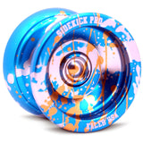 Blue Silver Gold Splashes Aluminum Sidekick PRO YoYo - UNresponsive