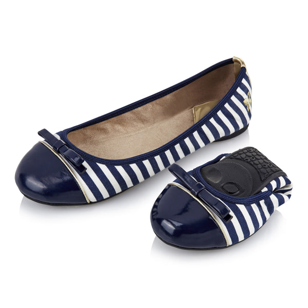 Cara Navy and White Stripe - Pretty Heels - 2
