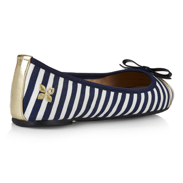Cara Navy and White Stripe - Pretty Heels - 3