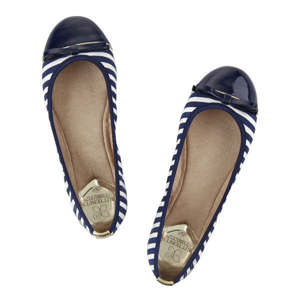 Cara Navy and White Stripe - Pretty Heels - 4