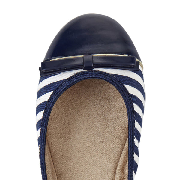 Cara Navy and White Stripe - Pretty Heels - 5