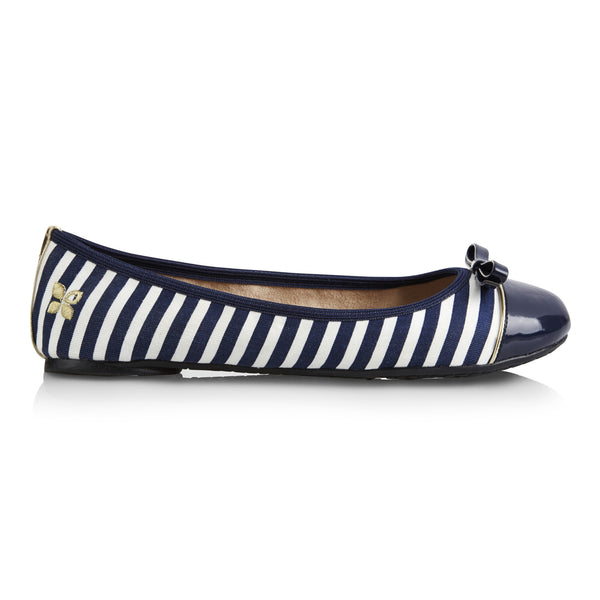 Cara Navy and White Stripe - Pretty Heels - 6