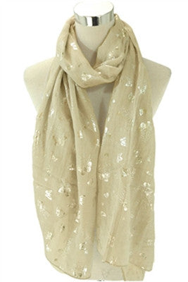 Butterflies Gold Scarf - Pretty Heels