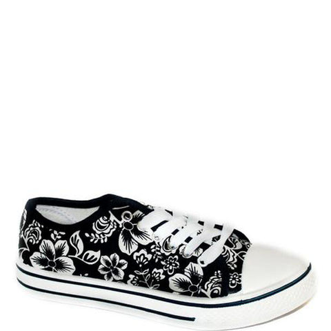 Flower Canvas Pump Navy