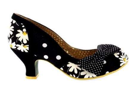 Shake It Black and White Daisy Heels - Pretty Heels - 4