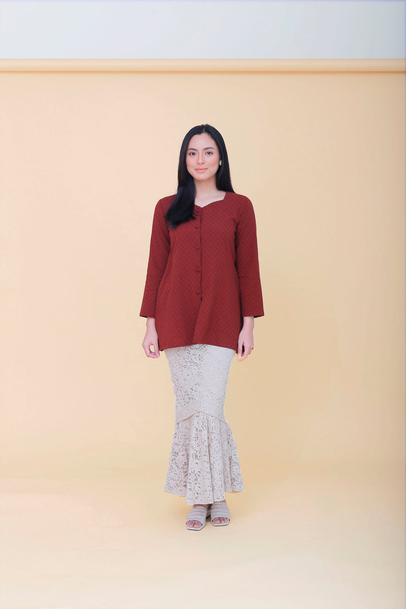 Agnes Kebaya Top Burgundy