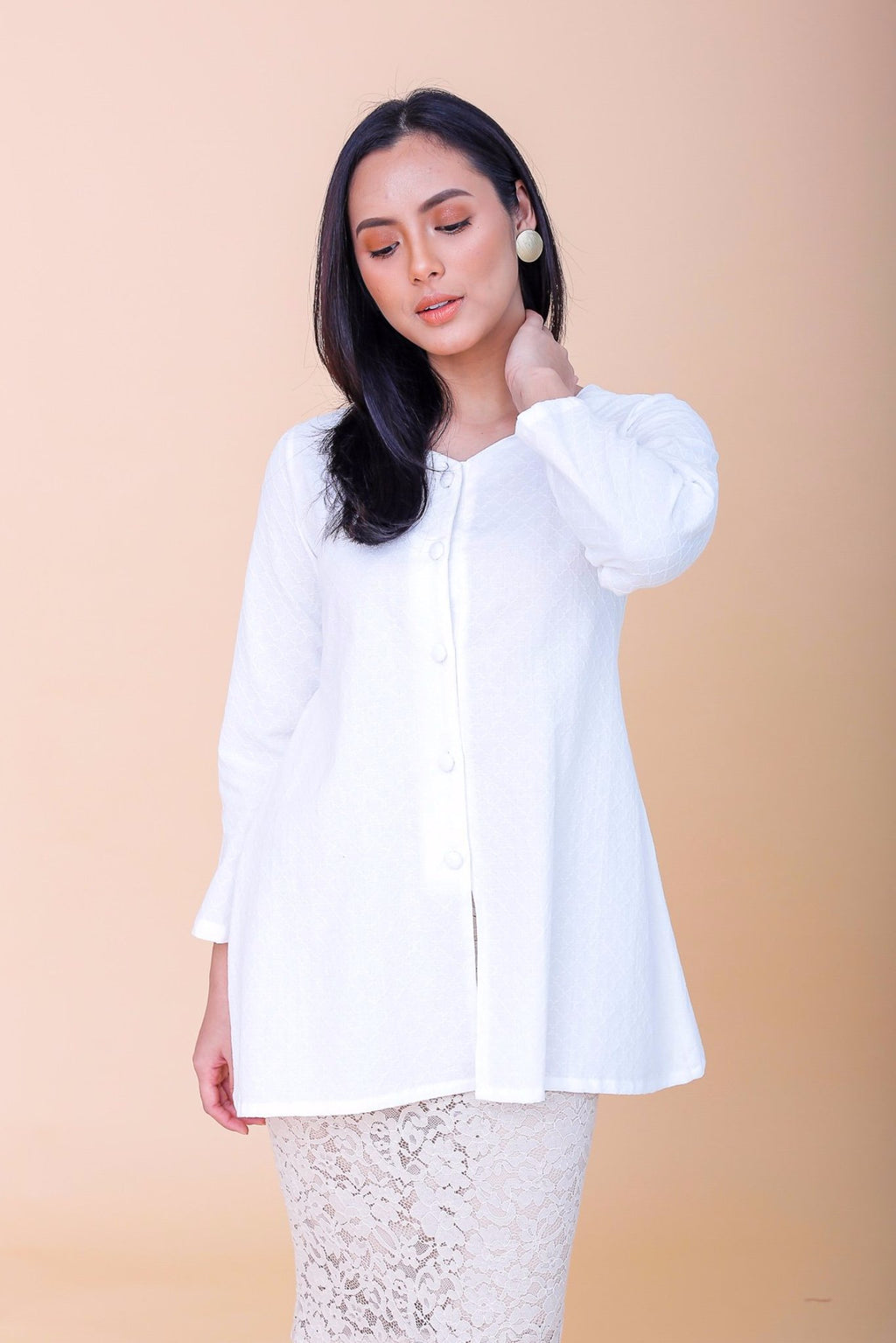 Agnes Kebaya Top White