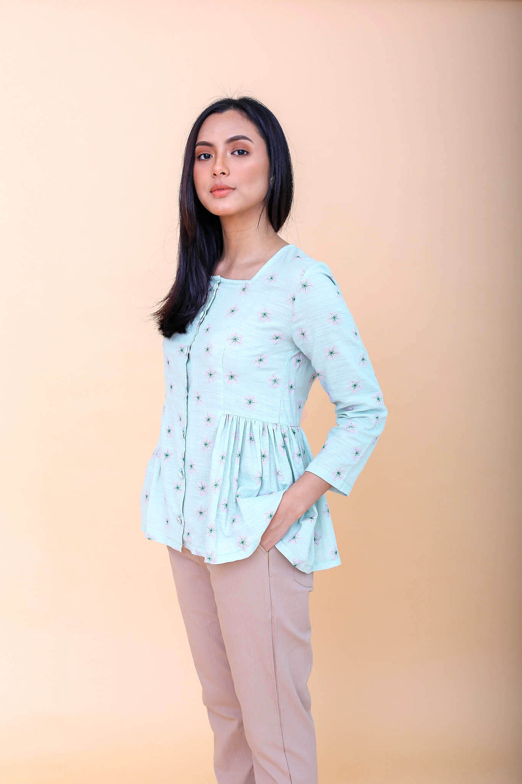 Dahlia Button Top Mint Green
