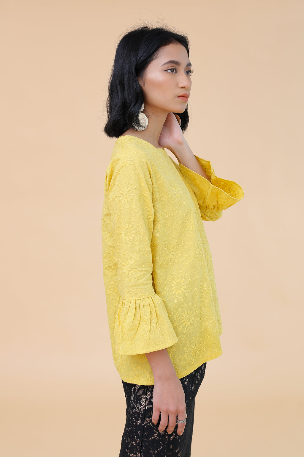 Emily Embroidered Top Yellow