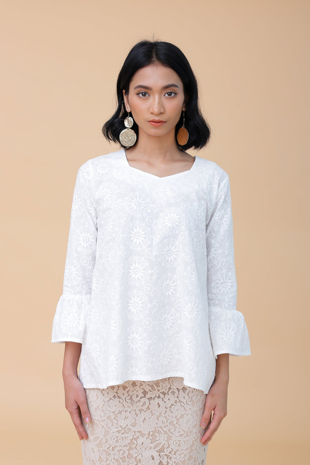 Emily Embroidered Top White