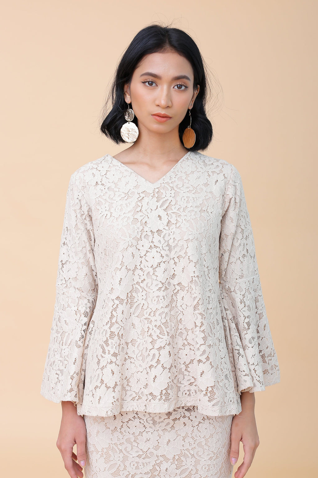 Elise Lace Top Beige