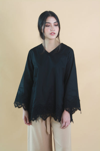 Lace Cotton Top Black
