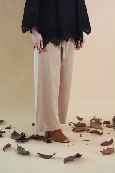 Wide Legged Cotton Pants Brown