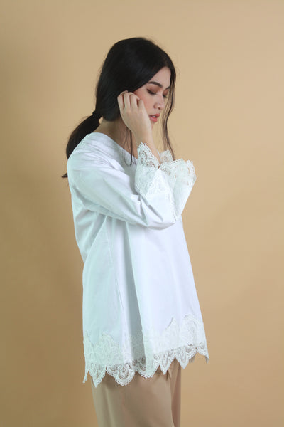 Lace Cotton Top White