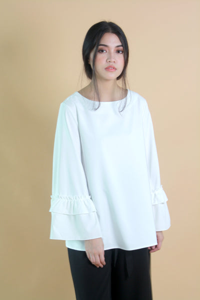 Ruffle Sleeved Oversized Top White