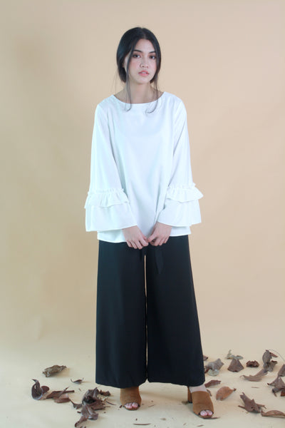 Wide Legged Cotton Pants Black