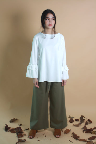 Wide Legged Cotton Pants Olive